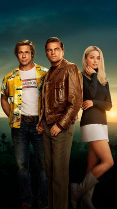 """""""Once Upon A Time In Hollywood"""" promotional artwork, L to R: Brad Pitt, Leonardo DiCaprio, Margot Robbie. Hollywood Movies 2019, Hollywood Poster, Golden Age Of Hollywood, Classic Hollywood, In Hollywood, Tarantino Films, Quentin Tarantino, Brad Pitt, Margot Elise Robbie"""