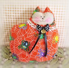 Hey, I found this really awesome Etsy listing at https://www.etsy.com/listing/157945893/halloween-cat-pillow-cat-doll-7-in