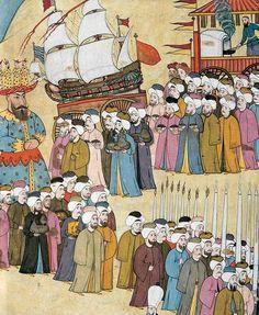 Ottoman spice makers-salesman ceremony during a festival. Source: Levnî, Surnâme, Topkapi Palace Museum Library, A Ottoman Turks, Oriental, Turkish Art, Ottoman Empire, Islamic Art, Historian, Traditional Art, Book Illustration, Book Art