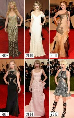 Taylor at the Met Gala throughout the years.