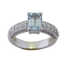 Blue Topaz 925 Sterling Silver studly jaipur Ring Blue L-1in UK KMOQ
