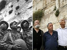 The 18 Most Iconic Jewish Photos Ever Taken - Page3 - Shalom Life Israeli army paratroopers Zion Karasanti, left, Yitzhak Yifat, centre, and Haim Oshri, right, stand next to the Western Wall, Judaism holiest site, in Jerusalem's Old City after it was captured during the Six Day War on June 7, 1967, left, and 40 years later, May 16, 2007.