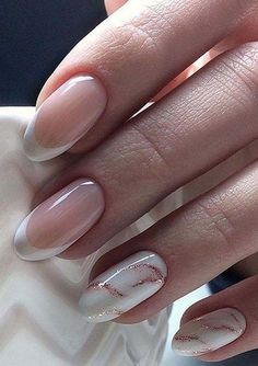 Perfect Pink And White Nails For Brides