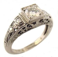 Art Deco Style Sterling Silver Filigree 5.0mm Round Shaped Ring Setting