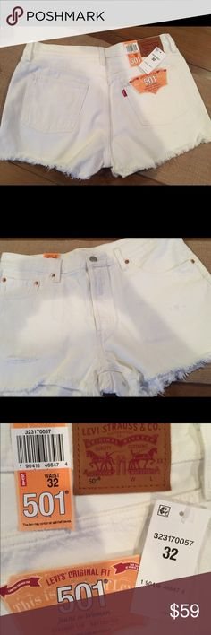 BNWT Levi's 501 distressed cut-off shorts SIZE 32 Brand new with tags , Levi's white distressed cut-off shorts.  Ordered online and were wrong size. Listing for half of retail ($118). Levi's Shorts Jean Shorts