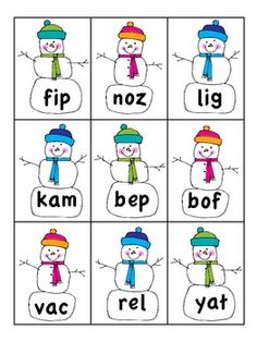 Snowman Nonsense Word Game Freebie - Excellent phonics practice and word comprehension practice!