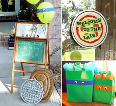 The Scrap Shoppe: Teenage Mutant Ninja Turtle (TMNT) Birthday Party. How cute and EASY are these treat/gift bags???