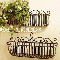 Freeshipping ferro parede grades de varanda titular vaso de flores pode pendurar tipo de flor(China (Mainland))