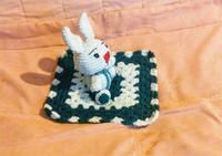Hand made/New Lovie Blanket with Rabbit. A great gift for a little one. 100% Acrylic. $20. + S/H $5.00.If you prefer to have it mailed.