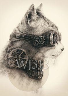 Steampunk Kitten/cat art print illustration