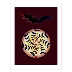 Halloween bat Halloween Bats, Special Characters, Lower Case Letters, Full Moon, All Design, Fine Art Paper, New Art, Christmas Bulbs, Fine Art Prints