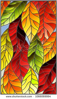 Illustration in stained glass style with colorful leaves of trees on a blue background