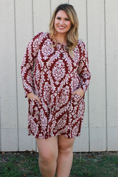 One Faith Boutique - Dearly Damask Print Dress With Pockets ~ Burgundy ~ Sizes 12-18, $38.00 (https://www.onefaithboutique.com/new-arrivals/dearly-damask-print-dress-with-pockets-burgundy-sizes-12-18/)