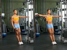 Fitness Workouts: Cable Shoulder Workout - Jeena F. Cable Machine Workout, Workout Machines, Kettlebell Training, Training Workouts, Stretching Workouts, Kettlebell Cardio, Weight Training, Training Tips, Shoulder Exercises