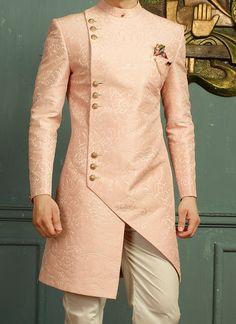 Baby Pink Jacquard Angrakha Sherwani