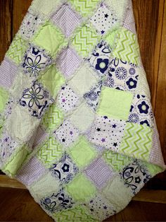 Soft Cuddly Baby Rag Quilt Flannel Baby Quilt by AllAboutTheDetail