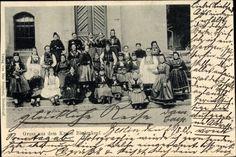 Ansichtskarte / Postkarte Biedenkopf an der Lahn, Frauen und Kinder in Hessischer Tracht