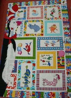 ADORABLE!!! Love the large character on the side! My Dr Seuss Quilt made in 2014