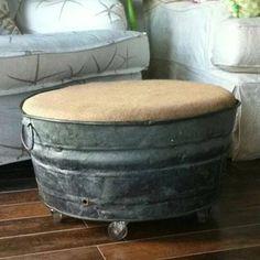 Vintage Galvanized Wash Tub Ottomon  #GoneJunkin #Fleamarkets #Vintage #GreenLiving #OffTheGrid #UPcycled #Handmade #Craft #DIY #UPcycle #Recycle #Ottomon Repurposed Items, Repurposed Furniture, Diy Furniture, Dresser Repurposed, Furniture Movers, Rustic Decor, Farmhouse Decor, Galvanized Buckets, Galvanized Wash Tub
