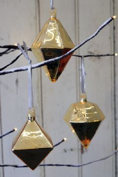 Set of 3 Geometric Baubles available in Gold or Black