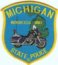 Michigan State Police Motorcycle Patch Police Cars, Police Badges, Police Vehicles, Military Police, State Police, Proud Of My Daughter, Michigan, Helmet Brands, Law Enforcement Badges
