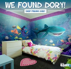 Turn walls fintastic with peel & stick Finding Dory wall decals from Fathead! Our removable and reusable decals go up in seconds to transform a room that's sure to make a splash! Disney Themed Bedrooms, Bedroom Themes, Girls Bedroom, Bedroom Decor, Boy Bedrooms, Attic Bedrooms, Girl Rooms, Bedroom Ideas, Disney Bathroom