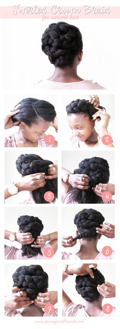 SavingOurStrands | Celebrating Our Natural Kinks Curls & Coils: [Tutorial] Swirled Crown Braid | The #WashDayExperience