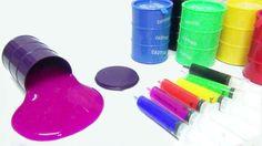 รีวิว barrel slime มาเล่นกับเข็มฉีดยา How To Make Colors Syringer Slime ...