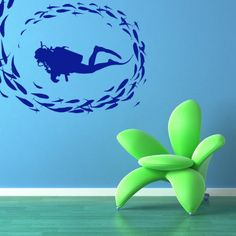 Scuba Diver Swimming with a School of Fish Ocean Scene - Vinyl Wall......