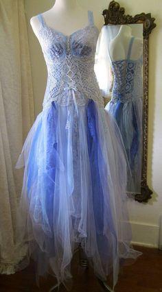 Boho Wedding Dress in BlueArt Nouveau Dress Open Back