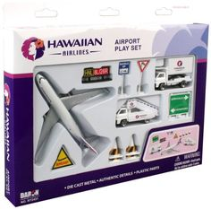 Daron Hawaiian Airlines Airport Playset: Hawaiian Airlines Airport Play Set is officially licensed by the airline. It features one plane, two vehicles and airport accessories. All Inclusive Family Resorts, Airplane Toys, Airplanes, First Plane, Hawaiian Airlines, Naruto Art, Cool Cartoons, Cool Toys, Awesome Toys