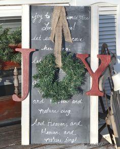 Upcycled JOY TO THE WORLD Christmas Sign mycreativedays.com