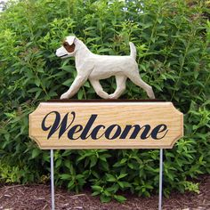 3 Coat Styles-Jack Russell Terrier Rough Welcome Sign Stake.Home Garden Dog Wood Products.
