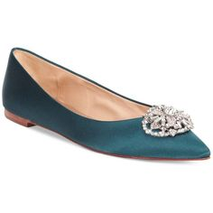 Badgley Mischka Davis Embellished Pointed Toe Evening Flats ($44) ❤ liked on Polyvore featuring shoes, flats, teal satin, sparkly shoes, evening flats, rhinestone shoes, teal shoes and pointed toe flats