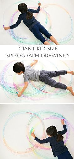 Create GIANT Kid Size Spirograph Drawings by hellowonderful: Awesome, creative and fun art project for kids! Wouldn't this make fun collaborative art too? #Kids #Art #Giant_Spirograph
