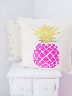 This trendy chic pillow is one of our most popular items. This bright pink pineapple with gold metallic leaves is heat transfer material on 100%
