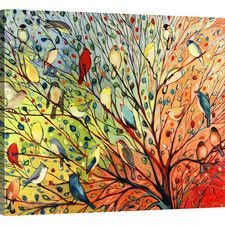 'Twenty Seven Birds' by Jennifer Lommers Painting Print on Wrapped Canvas-- Wayfair