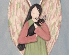 Collie cradled by angel / Lynch signed folk art by watercolorqueen