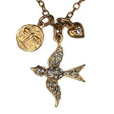 Gold Swallow Charm Necklace by La Vie Parisienne $50.00