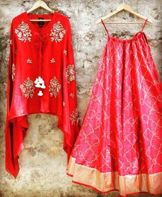 Crushing on this bright red lehenga and cape set! Contact jayantireddyofficial@gmail.com to place your order. jayanti reddy jayanti reddy label. 09 April 2017