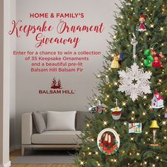 Enter for a chance to win a collection of 35 Keepsake Ornaments and a beautiful pre-lit Balsam Hill Balsam Fir.