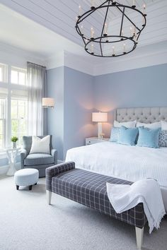 Blue Master Bedroom, Pastel Bedroom, Blue Bedroom Walls, Blue Bedroom Decor, Bedroom Wall Colors, Periwinkle Bedroom, Periwinkle Blue, Light Gray Bedroom, Teen Bedroom