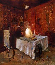 Huevo y crío: El huevo aparece en algunos momentos de Bedtime Story. Para el cristianismo, es un símbolo de la generación de la vida, el nacimiento y el renacimiento. Es el capullo donde se origina la vida, y no es casualidad que la célula sexual femenina fuese nombrado ovulo. En la Pascua, el huevo representa la renovación de la vida, y el niño. Curiosamente, el huevo es una figura recurriente en las pinturas de Leonora Carrington, uno de los ejemplos es – Ab eo quod(1956)