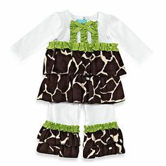 This groovy set includes a long sleeve cotton top with soft light weight velour triple ruffles, ribbon accents and flared minky ruffled pants. It provides a cool and comfortable look for your little disco diva. Giraffe Nursery, Giraffe Print, Safari Birthday Party, Ruffle Pants, Buy Buy Baby, Turquoise Color, Cute Baby Clothes, Daughter Love, Cute Babies