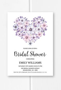 Purple bridal shower invitation printable, heart bridal shower ideas, floral bridal shower invite from Pink Summer Designs on Etsy