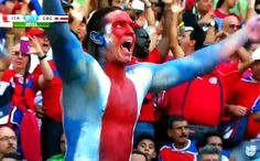 Costa Rica Flag painted Fan @ 2014 World Cup, Brasil.