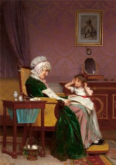 Louis-Emile Adan (French, 1839 - The First Lesson His first school report Motherhood Interior of a Frame Gilding Workshop * * * Classic Paintings, Old Paintings, French Paintings, A4 Poster, Poster Prints, Louis Aragon, Grands Parents, Old Master, Master Art