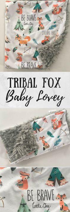Tribal fox Woodland Forest Animal Baby lovey security Blanket, minky Baby Blanket, Woodland Nursery, Forest Nursery, Baby Shower gift #ad #affiliatelink