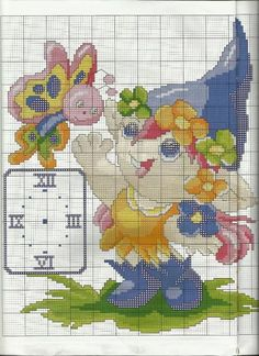Duende punto de cruz Cross Stitch Fairy, Cute Cross Stitch, Cross Stitch Embroidery, Cross Stitch Patterns, Handmade Clocks, Dragon Pattern, Cross Stitch Needles, Needlework, Betty Boop