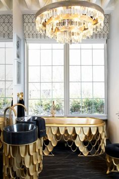This guest bathroom shines with the golden accents of the KOI bathtub, the KOI freestanding, and the KOI Stool, under the blissful light of Naicca Chandelier. Bathroom Vanity Cabinets, Bathroom Furniture, Bathroom Trends, Modern Bathroom, Bathroom Ideas, Pinterest Home, Room Tiles, Colorful Decor, Foto E Video